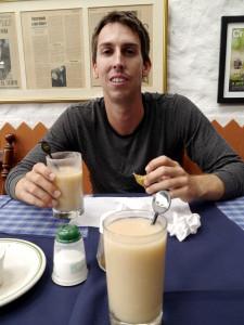 Matt enjoys empanadas and masato at La Margerita (Bogota, Colombia)