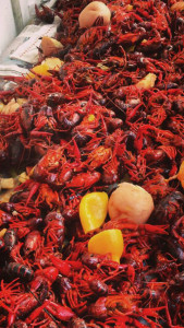 Tons of crawfish bringing friends together