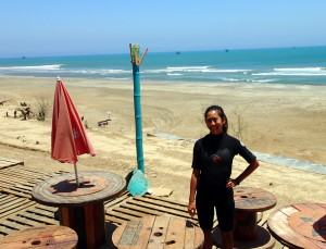 Getting ready for some body surfing in Lobitos Peru