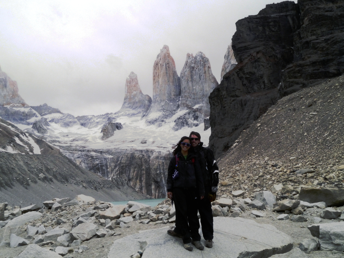 Amanda Matt at the top of Torres del Paine mirador hike Patagonia