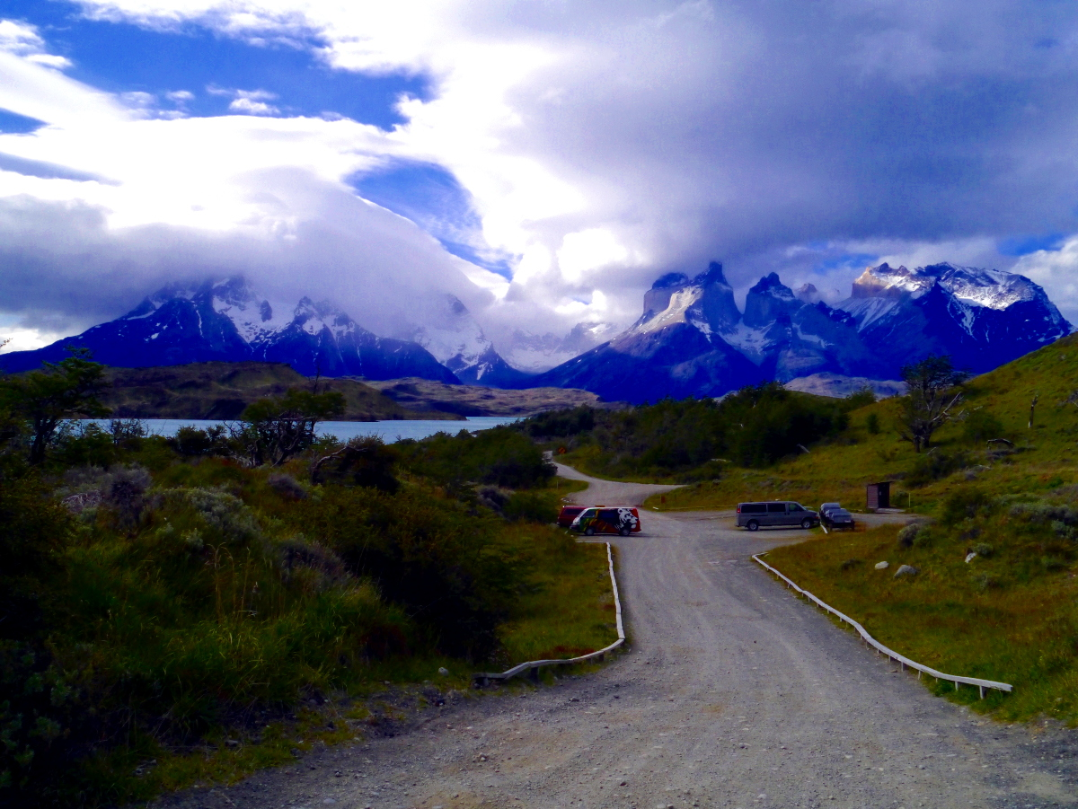 Torres del Paine National Park with Marley in the distance
