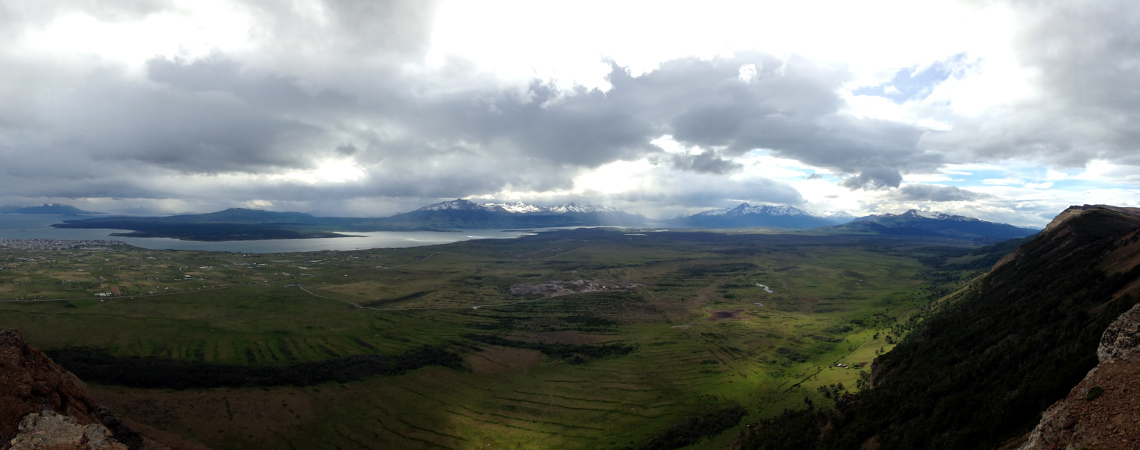 Panoramic view of Puerto Natales from Mirador Dorotea