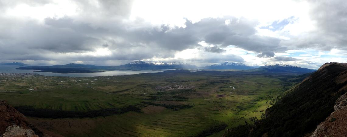 Panoramic view of Puerto Natales from Mirador Dorotea