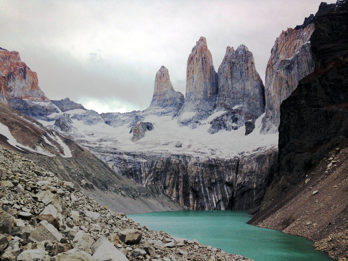 Torres del Paine (Towers of Paine) with Glacial Lake