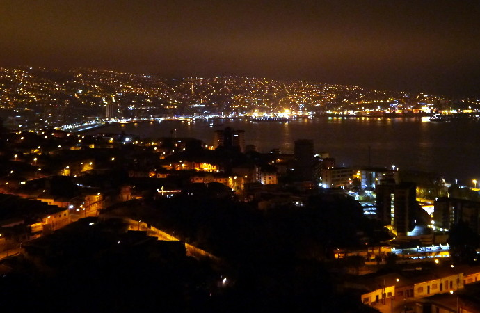 Valporaiso Chile Panoramic Night