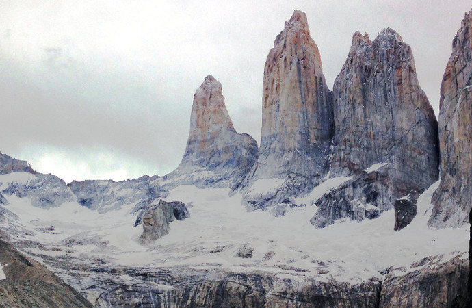 Torres del Paine (Towers of Paine) with Glacial Lake Panoramic